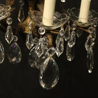 French Pair of Bronze & Crystal 5 Arm Antique Wall Lights (6 of 10)