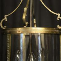 French Gilded Triple Light Antique Convex Hall Lantern (5 of 10)
