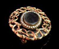 Antique Victorian Mourning Brooch, 9ct Gold Black Enamel (3 of 10)