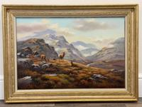 """Oil Painting Scottish Stags """"Denizens of the Highlands"""" Signed Wendy Reeves (3 of 45)"""