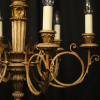 French Giltwood Polychrome 6 Light Chandelier (3 of 10)