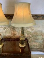 Pair Of Early 20th C Brass Lamps With Silk Shades (7 of 7)