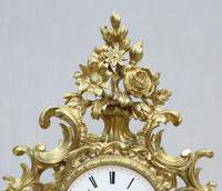 French Bronze Gilt Rococo Style Mantel Clock by Vincenti (3 of 9)