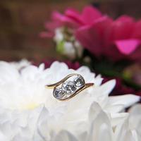 Antique Art Deco 18ct Gold & Diamond Three Stone Bypass Ring (5 of 7)