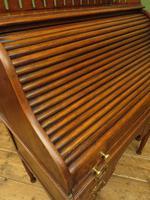 Antique Oak Roll Top Writing Desk, Tambour Front Bureau Desk (19 of 20)