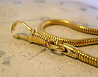 Vintage Pocket Watch Chain 1970 12ct Gold Plated Snake Link Albert With T Bar (10 of 10)