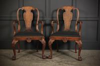 Pair of Queen Anne Style Walnut Carver Chairs c.1920 (5 of 19)