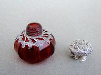 Rare Victorian Silver Mounted Cranberry Glass Vinaigrette c.1890 (6 of 7)