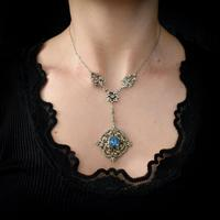 Antique Old Cut Blue Paste Drop Sterling Silver Pendant Necklace (12 of 12)