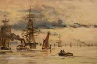 """Oil Painting by Adolphe Ragon """"on the Thames near Woolwich"""" (3 of 5)"""