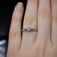 Art Deco 0.50ct Diamond Solitaire 18ct 18K Gold & Platinum Ring (7 of 9)