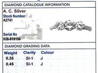 0.80ct Diamond & 18ct White Gold Three Stone Ring - Antique c.1920 (6 of 9)