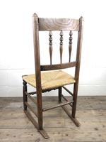 Antique Ash & Elm Rocking Chair with Rush Seat (9 of 12)
