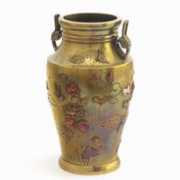 Japanese Meiji Period Large Bronze & Mixed Metal Vase c.1885 (4 of 11)