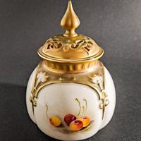Royal Worcester Fruit Painted Pot & Cover (5 of 6)