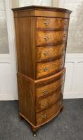 Bow Front Burr Walnut Chest on Chest of Drawers (8 of 13)