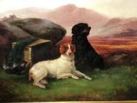 "Victorian Oil Painting Hunting ""Game Dogs"" Signed Robert Cleminson (8 of 29)"