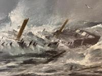 Huge 19th Century Seascape Oil Painting Sinking Ship Signalling Rescuers by Henry E Tozer (20 of 58)