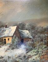 Very Large Outstanding 19th Century British Winter Snow-capped Landscape Oil Painting (7 of 13)