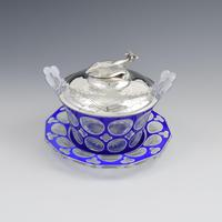 Early Victorian Blue & White Overlay Glass Butter Dish Silver Cow Cover (5 of 15)