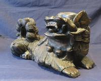 """16"""" Wide Antique Temple Dogs Fo Dogs Hand Carved T (3 of 9)"""
