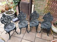 Wonderful Set of Cast Iron Garden Table & Four Chairs (4 of 7)