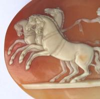 Very Fine Unmounted Carved Shell Angel of Peace Cameo - 4 Horse Chariot 19th Century (2 of 6)