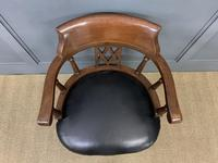 Victorian Mahogany & Leather Revolving Desk Chair (5 of 11)