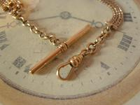 Antique Pocket Watch Chain 1890s Victorian 12ct Rose Gold Filled Albert With T Bar (8 of 12)