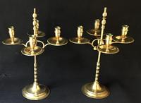 Pair of Arts & Crafts Brass 4 Branch Rise & Fall Candelabra (5 of 7)