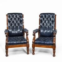 Pair of William IV Mahogany & Leather Upholstered Armchairs (2 of 11)