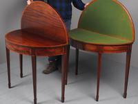 Matched Pair of George III Inlaid Mahogany Demi Lune Tables (14 of 19)