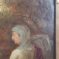 19th Century Oil on Canvas Double Sided Shepard. Jesus & Mary Magdalene (12 of 13)