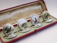 Cased Set of 4 Edwardian Silver & Enamel English Game Menu Holders by Sampson Mordan, Chester, 1904 (4 of 15)