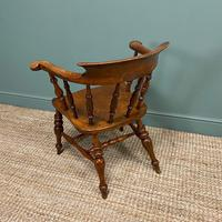 Elm Early Victorian Antique Smokers Bow Arm Chair (7 of 7)