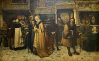Substantial 19th Century Flemish Oil Painting of Locals in Brugge by Dumont (2 of 21)