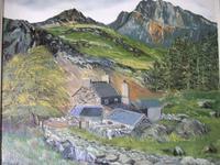 E Owen Contemporary Oil on Board of Welsh Mountainous Landscape (2 of 6)
