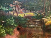 John Barter Lovely 19th Century Oil Painting 'Crossing the Stones' (11 of 14)