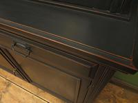 Antique Black Painted Bookcase Dresser Cabinet with Glazed Top, Lockable, Gothic (11 of 14)