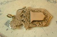 Antique Pocket Watch Chain Fob 1890s Victorian Silver Nickel Lion & Shield Fob (5 of 9)