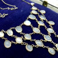 Antique Edwardian Silver Moonstone Festoon Bib Necklace c.1901 (3 of 9)