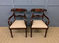 Pair of Regency Mahogany Scroll Armchairs