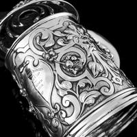 Antique Solid Sterling Silver Large Tankard with Royal Marines Officer Interest - Goldsmiths & Silversmiths Co 1900 (10 of 28)