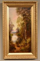 """Oil Painting Pair by Ernest Charles Walbourn """"A Tranquil River Scene"""""""