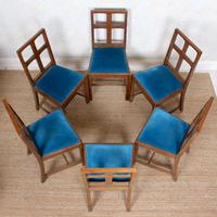 6 Arts & Crafts Carved Oak Dining Chairs (6 of 10)