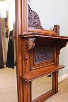 Antique Large Victorian Oak Overmantle Wall Mirror (4 of 9)
