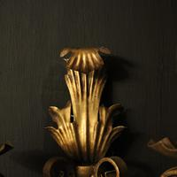 French Set of 4 Gilded Iron Twin Arm Wall Lights (6 of 10)
