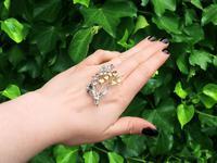 0.22ct Sapphire & 1.82ct Diamond, 18ct Yellow & White Gold Spray Brooch c.1930 (2 of 9)