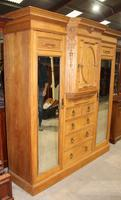 1900's Large Quality Oak Mirrored Compactum Wardrobe (6 of 6)