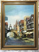 English Atmospheric Oil Painting Historic Chester Eastgate Street Clock After Ben Maile (3 of 12)